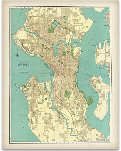 1920's Art - 1920 Seattle Map Art Print - 11x14 Unframed Art Print - Great Vintage Home Decor