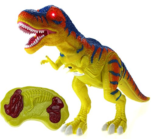 Walking Series Dinosaur World Remote Controlled Battery Operated RC Toy T-Rex Figure w/Shaking Head, Walking Movement, Light Up Eyes & Sounds (T-rex Robot)