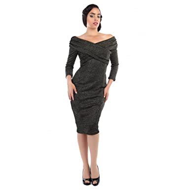 Collectif Vintage Womens Hollie Lurex Wiggle Pencil Dress UK 24