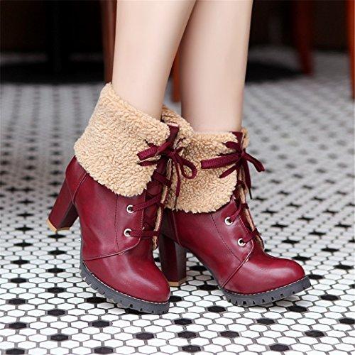 un invierno QX gran red El redonda mujeres con de de de cabeza moda botas zapatos el Martin otoño tacón botas y de Taiwán sexy ZQ grueso de impermeable número BgXcfqAdX