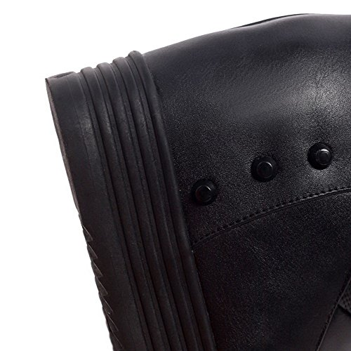 AllhqFashion Damen Rund Zehe Hoher Absatz Weiches Material Niedrig-Spitze Stiefel Schwarz