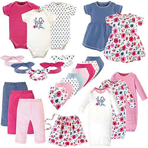 Touched by Nature Unisex Baby Girls Layette Giftset Bundle with Laundry Bag, Garden Floral Pack, 0-6 Months (6M)