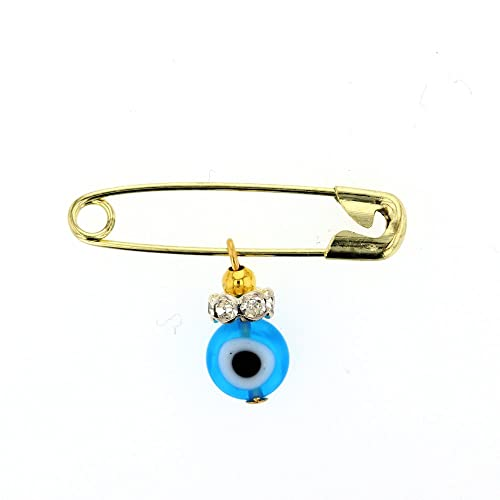 DiamondJewelryNY Evil Eye Glass Evil Eye Charm with Stainless Safety Pin to Hook