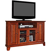 Corner Tv Stand With Storage Entertainment Center Media Console Wood  Cabinet (Classic Cherry)