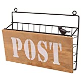 Rustic Brown Metal Wire Wall Mounted ''Post'' Mail Sorter / Magazine Rack w/ Wood Panel Sign, Bird Ornament