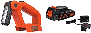 BLACK+DECKER 20V MAX LED Work Light with Lithium Battery & Charger (BDCF20 & LBXR20CK)