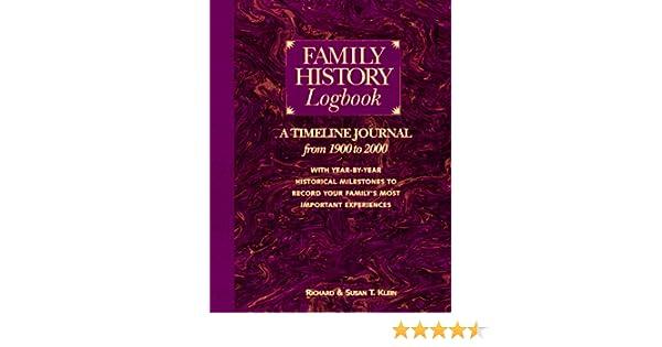 family history logbook reinhard klein 9781558704251 amazon com books