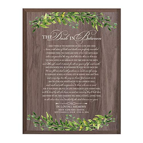 (LifeSong Milestones Personalized The Dash in Between Sympathy Gifts for Loss of Loved one Bereavement Wall Plaque for Loss of Mother Father Child with Leaf Border (Salt)