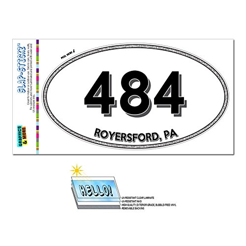 Graphics and More Area Code Oval Window Sticker 484 Pennsylvania PA Allentown - West Grove - (Royersford Pa)