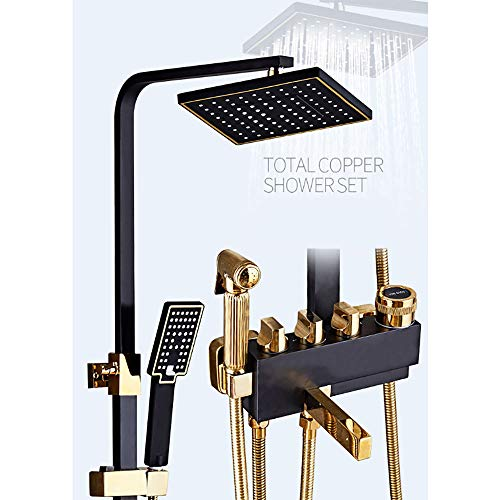 ZQDL 4-in-1 Black Shower Set, European Style Copper Body, Mixing Valve Faucet, Knob Control, Supercharged Adjustable Hand Shower