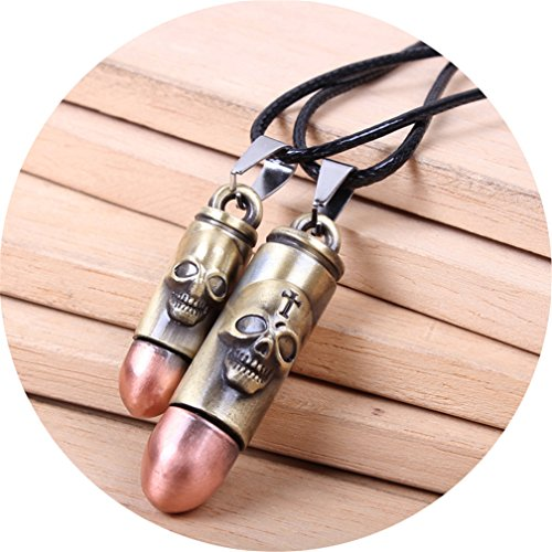 Leather Skull Pendant (Bronze Bullets Couple Necklace Faux Leather Short Bullets Heart Lock Key Love Charm Skull Punk Pendant Stainless Steel Chain for Men and Women 2PCS (Skull Couple))