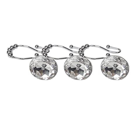 Attractive Chictie 12pcs Set Clear Big Round Crystal Shower Curtain Hooks Double Glide  Rings With Roller Balls