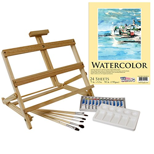 - US Art Supply 21-Piece Watercolor Painting Set with Table Easel