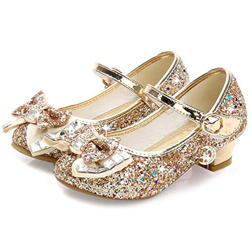Waloka Girl Mary Jane Shoes Size 3 Gold Prom Party High Heeled Shoes for Teen Girls Size 4 13 Yr Glitter Princess Flower Big Girl Wedding Cute Dress Shoes (Gold 38) -