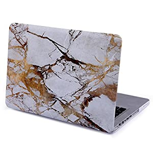 HDE MacBook Pro 13 (Non Retina) Case and Keyboard Cover Snap On Protective Hard Shell White Marble Design Fits Old Macbook Pro 13 Inch Model A1278 with CD Drive (White Gold Marble)