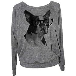 Skip N' Whistle Women's Boston Terrier Raglan Sweatshirt Large Grey