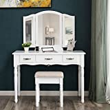 SONGMICS Vanity Table Set, 3 Large Drawers, Tri folding Mirror, Make-up Dressing Table with Cushioned Stool, Easy Assembly, Gift for Mom White URDT18W