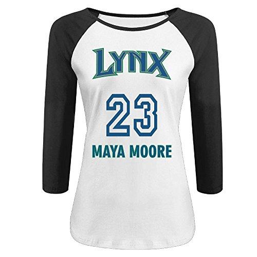 ATM3HAOJI Women's Minnesota Lynx Maya Moore 23 3/4 Sleeve Baseball T Shirts/Tee (Robin Custome)