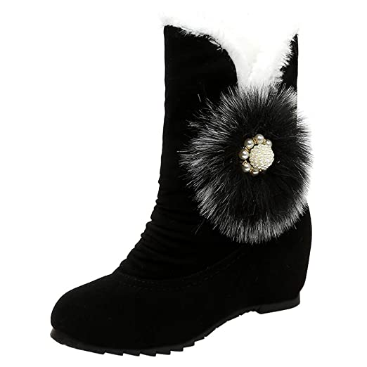 11fc16f0fe3eb Amazon.com: Hunzed Women Shoes Plus Fluffy Ball Wedge Suede Female ...