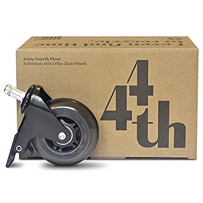 Office Chair Wheels with Brake - Steel Office Chair Casters - Rollerblade Style Polyurethane Wheel - Heavy Duty Replacement for Desk Floor Mat - Perfect for All Flooring
