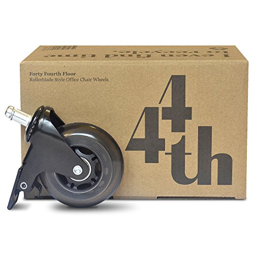 Locking Caster Included - Heavy Duty Office Chair Wheels - Quiet as a Mouse and Smooth as Glass - Roll Over Any Surface - Rescue Your Desk Chair - Floor Mat Replacement - Protect Hardwood Floors (Wobble 0.5')