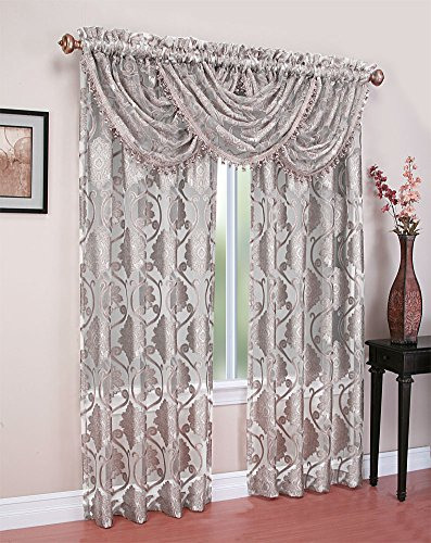Regal Home Collections Milawi Sheer Jacquard Scroll Rod Pocket Window Panel, 54 by 84-Inch, (Scroll Rod Pocket)