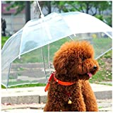 "Prettysell Pet Umbrella Dog Umbrella Transparent Waterproof Pet Umbrella Raincoat With Leash, Fits 20"" Pet's Back Length, for Small Dog"