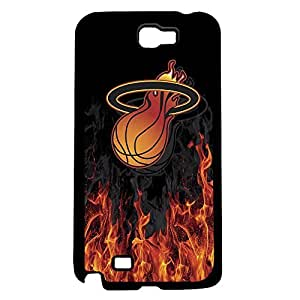 Miami Heat Basketball with Flames and Smoke on Black Background Hard Snap on Phone Case (Note 2 II) by lolosakes