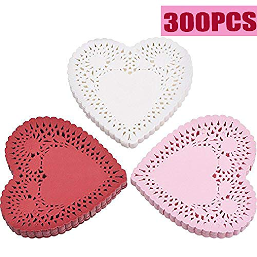 Mtlee 300 Pieces Valentine Heart Doilies 4 Inch Heart Shaped Paper Doilies with 3 Colors, Red, Pink and White (300)