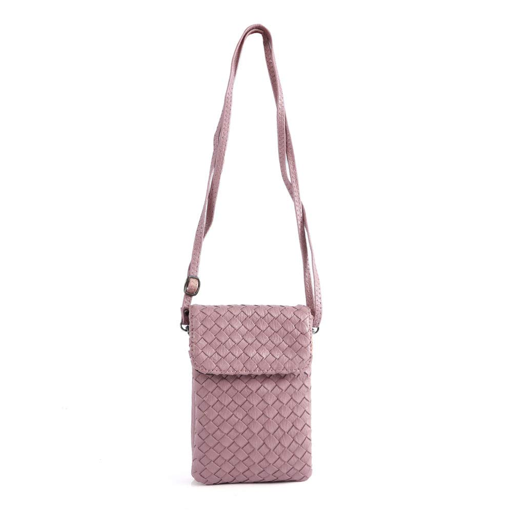 TENXITER Weaving Pockets Series Small Crossbody Bag Cell Phone Purse Wallet For Women (Pink)