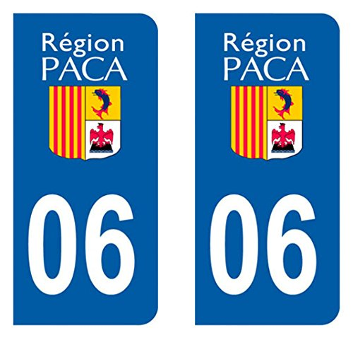Paire Sticker immatriculation 06 - Alpes maritimes Autocollant-immatriculation