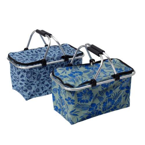 Axentia 252294  Tragekorb, Einkaufstasche mit Henkeln, Tragetasche in zwei trendigen Designs, 48 x 28 x 24cm, Henkelkorb mit Abdeckung, blau gemustert