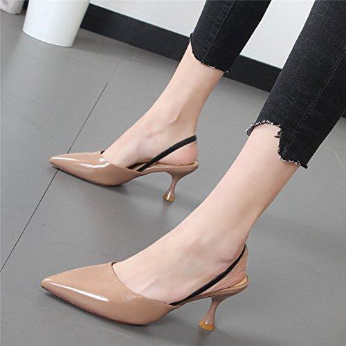 Baotou de a bellas con zapatillas y zapatos mitad arrastre correa de desgaste Xue trasera Qiqi Cool fashion mujeres beige 34 tip sandalias mujer wZIPqg