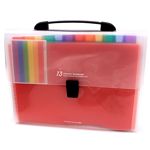 Expanding Files with Handle Accordion Folder with Handle - 13 Pocket Accordian File Organizer Plastic A4 File Organizer Bag and Labels Poly Expandin File