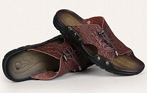 sandalias y zapatillas sandalias de cuero de los hombres de verano personalizados encaje de la moda 3