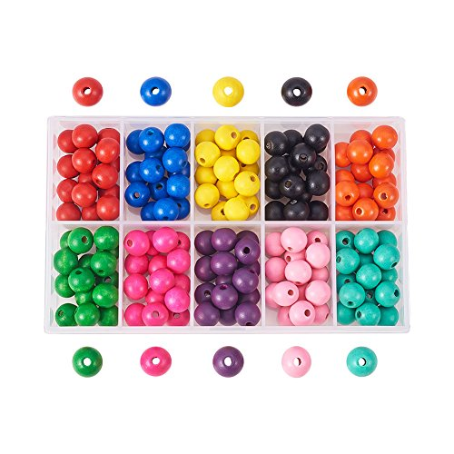 Plastic Round Beads (Pandahall Elite 1 Box (About 150pcs) 12mm Dyed Environmental Round Wood Beads 10 Colors with Box for DIY Crafting Jewelry making)
