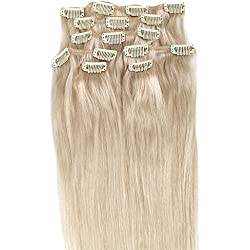 Blonde Hair Extensions, Grammy 15 Inch 7pcs Remy Clips in Human Hair Extensions 70g with Clips for Highlight(15inch, #60 Platinum Blonde)