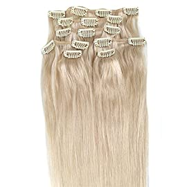 Clip in Hair Extensions, Grammy 15 Inch 7pcs Remy Clips in Human Hair Extensions 70g with Clips for Highlight (15inch, 12/613 Brown Blonde Mix Bleach Blonde)