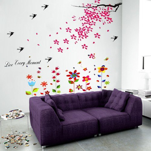 Wall Stickers Flower Swallow Butterflies Removable Self-Adhesive Wall Mural Art Home Living Room Décor Restaurant Cafe Hotel Nursery Decoration