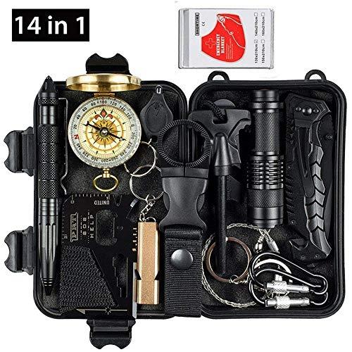 - YIYISHUN Emergency Survival Kit, Outdoor Camping Survival Gear Set, SOS First Aid Kits EDC Tool (14 in 1 Set)