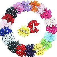 Baby Girl Grosgrain Ribbon Pinwheel Boutique Polka Dot Arcos de pelo Pinzas de cocodrilo para adolescentes Niños Paquete de 18