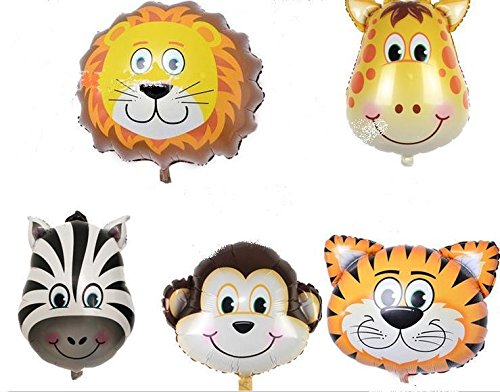 King's Store ,5pc JUNGLE ANIMALS BALLOONS birthday party decorations lion tiger monkey zebra The -