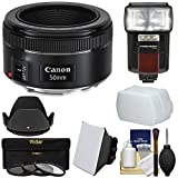 Canon EF 50mm f/1.8 STM Lens with 3 UV/CPL/ND8 Filters + Hood + Flash & Video Light + Diffuser + Soft Box + Kit for EOS 6D, 70D, 7D, 5DS, 5D, Rebel T3, T3i, T5, T5i, T6i, T6s, SL1 Camera
