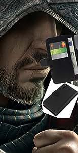 LECELL--Cuero de la tarjeta la carpeta del tirón Smartphone Slots Protección Holder For Sony Xperia Z3 D6603 -- Barbudo Assasin --