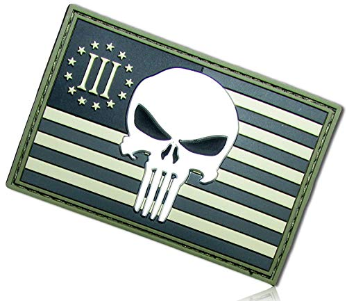 Forest Camouflage Sharp Rectangle United States USA American Flag Star Stripes Three 3 Percenter Military Militia Skull Badge Hook & Loop Fastener Patch [3