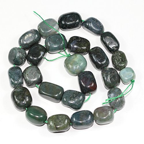 AAA Natural Moss Agate Gemstones Smooth Round Nugget Loose Beads ~13x10mm beads for Jewelry Making (1 strand, ~16