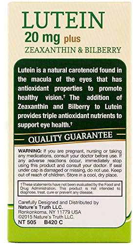 Nature's Truth Lutein 20 mg Plus Zeaxanthin and Bilberry Capsules, 39 Count by Nature's Truth (Image #1)
