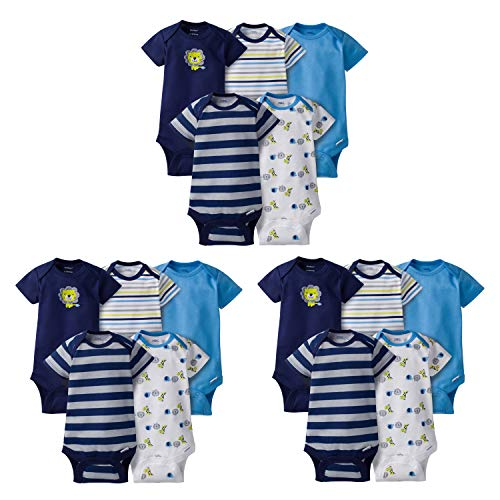 Gerber Baby Boys' 15-Piece Variety Grow-with-Me Onesies Bodysuits, Safari, Assorted Months from Gerber