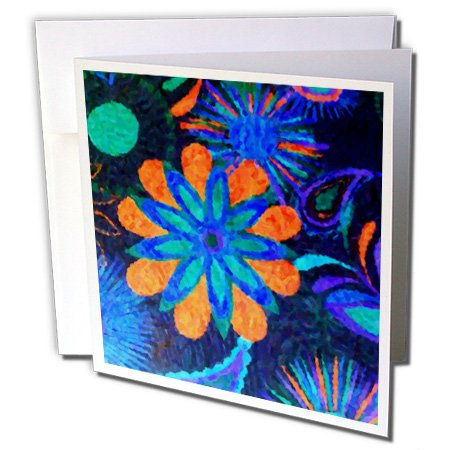 Fusion Floral Square (3dRose Florene Abstract Floral - Flower Fusion - 12 Greeting Cards with envelopes (gc_25225_2))
