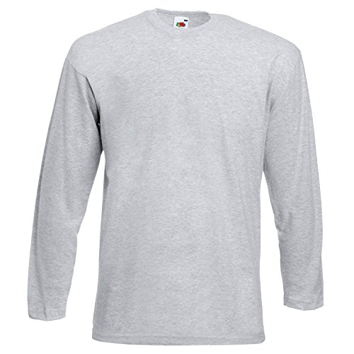 Fruit of the Loom Valueweight long sleeve tee - Heather Grey - - Internet Sales Monday